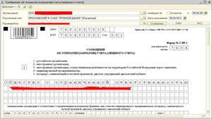 Уведомление налоговой инспекции об открытии счёта