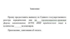 Заявление на получение выписки из ЕГРЮЛ