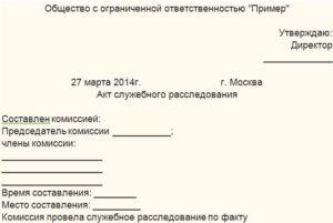 Акт служебного расследования на предприятии