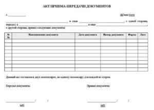 Акт приёма-передачи документов