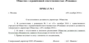 Приказ о вступлении в должность генерального директора ООО. Образец