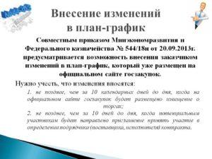 Приказ о внесении изменений в план-график по 44-ФЗ