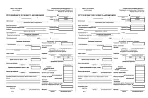 Актуальный бланк и образец заполнения путевого листа