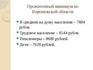 Прожиточный минимум в Воронежской области
