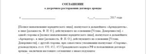 Письмо о прекращении договора аренды