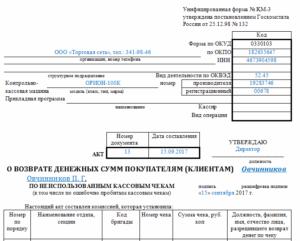 Форма КМ-3. Акт о возврате денежных сумм покупателям