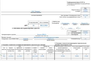 Акт о списании основных средств по форме ОС-4