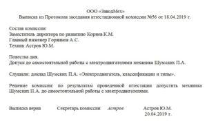 Выписка из протокола заседания комиссии