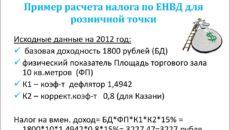 Расчет ЕНВД в розничной торговле с примерами