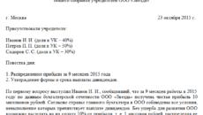 Протокол о выплате дивидендов ООО